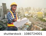 senior asian civil engineer... | Shutterstock . vector #1080724001