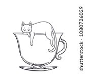 cat sleeping on the cup of tea... | Shutterstock .eps vector #1080726029