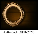 beautiful wood oval frame... | Shutterstock .eps vector #1080728201