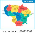 the detailed map of lithuania... | Shutterstock .eps vector #1080755369