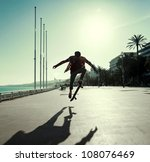 silhouette of skateboarder...   Shutterstock . vector #108076469