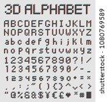 3d pixel font  retro game style ... | Shutterstock .eps vector #1080769589