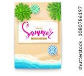 poster with summer beach...   Shutterstock .eps vector #1080786197