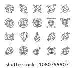 world map line icon set ... | Shutterstock .eps vector #1080799907