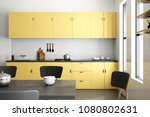 luxury yellow kitchen interior... | Shutterstock . vector #1080802631