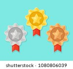set of gold  silver  bronze... | Shutterstock .eps vector #1080806039