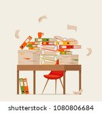 pile of papers  documents and... | Shutterstock .eps vector #1080806684