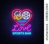 sports bar logo neon vector....   Shutterstock .eps vector #1080811064
