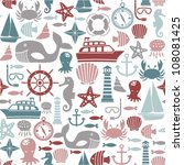 seamless pattern with sea icons | Shutterstock .eps vector #108081425