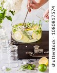 fresh lemon  lime  thyme and... | Shutterstock . vector #1080817574