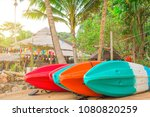 colorful kayaks on the tropical ... | Shutterstock . vector #1080820259