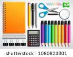 school supplies vector set with ... | Shutterstock .eps vector #1080823301