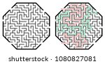 illustration with labyrinth ... | Shutterstock .eps vector #1080827081