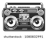 retro portable stereo radio... | Shutterstock .eps vector #1080832991