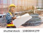 senior asian civil engineer... | Shutterstock . vector #1080844199
