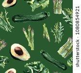 vegetables seamless pattern.... | Shutterstock . vector #1080854921