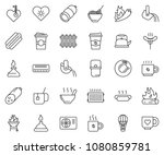 thin line icon set   coffee... | Shutterstock .eps vector #1080859781