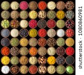 various condiments in cups ...   Shutterstock . vector #1080860981