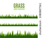 green grass borders set  vector ... | Shutterstock .eps vector #1080887561