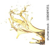 abstract design template splashes of yellow oil isolated on white background - stock photo