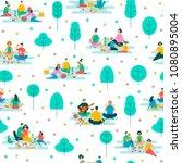 picnic in park  vector seamless ...   Shutterstock .eps vector #1080895004
