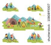 camper people set  tourists... | Shutterstock .eps vector #1080895007