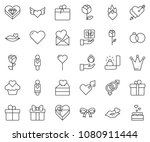 thin line icon set   rose... | Shutterstock .eps vector #1080911444