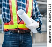 senior asian civil engineer... | Shutterstock . vector #1080919325