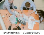young business team working in... | Shutterstock . vector #1080919697