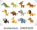big set of cartoon animals   zoo | Shutterstock .eps vector #108092039