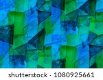 geometric blue and green... | Shutterstock . vector #1080925661