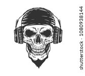 scull with headphones isolated... | Shutterstock .eps vector #1080938144