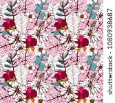 seamless pattern with tropical... | Shutterstock .eps vector #1080938687