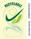 recyclable label in green... | Shutterstock .eps vector #1080943331