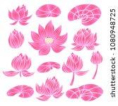 beautiful  set of flower lotus. ... | Shutterstock .eps vector #1080948725