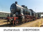 vintage steam engine train on... | Shutterstock . vector #1080950804