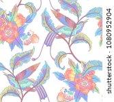 dark enchanted vintage flowers... | Shutterstock .eps vector #1080952904
