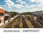 old railway station in europe ... | Shutterstock . vector #1080955637