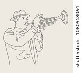 cartoon jazz character   Shutterstock .eps vector #1080958064