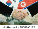 north korea   south korea peace ... | Shutterstock . vector #1080965129
