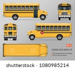 school bus vector mock up.... | Shutterstock .eps vector #1080985214