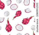 pitaya  dragon fruit seamless... | Shutterstock .eps vector #1080991595