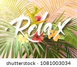 bright exotic summer design... | Shutterstock .eps vector #1081003034