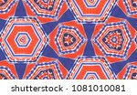 hand painted kaleidoscope tile. ... | Shutterstock . vector #1081010081