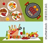 bbq party background with grill.... | Shutterstock .eps vector #1081011161