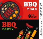bbq party background with grill.... | Shutterstock .eps vector #1081011179