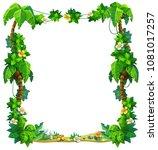 vector frame of tropical leaves ... | Shutterstock .eps vector #1081017257
