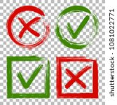 tick and cross test signs set ... | Shutterstock .eps vector #1081022771