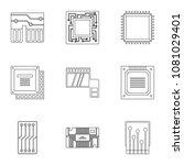 hardware icons set. outline... | Shutterstock . vector #1081029401
