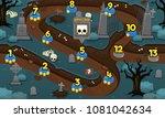 scary graveyard halloween  game ... | Shutterstock .eps vector #1081042634